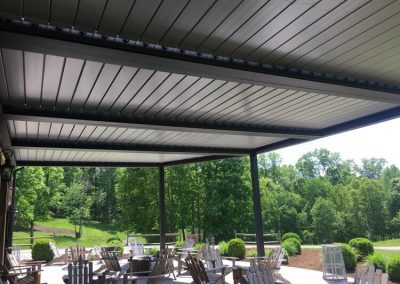 Outdoor eatery closed louvered roof