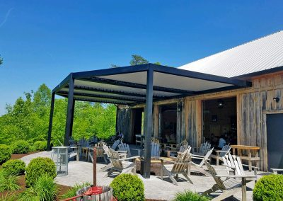 Outdoor eatery louvered roof
