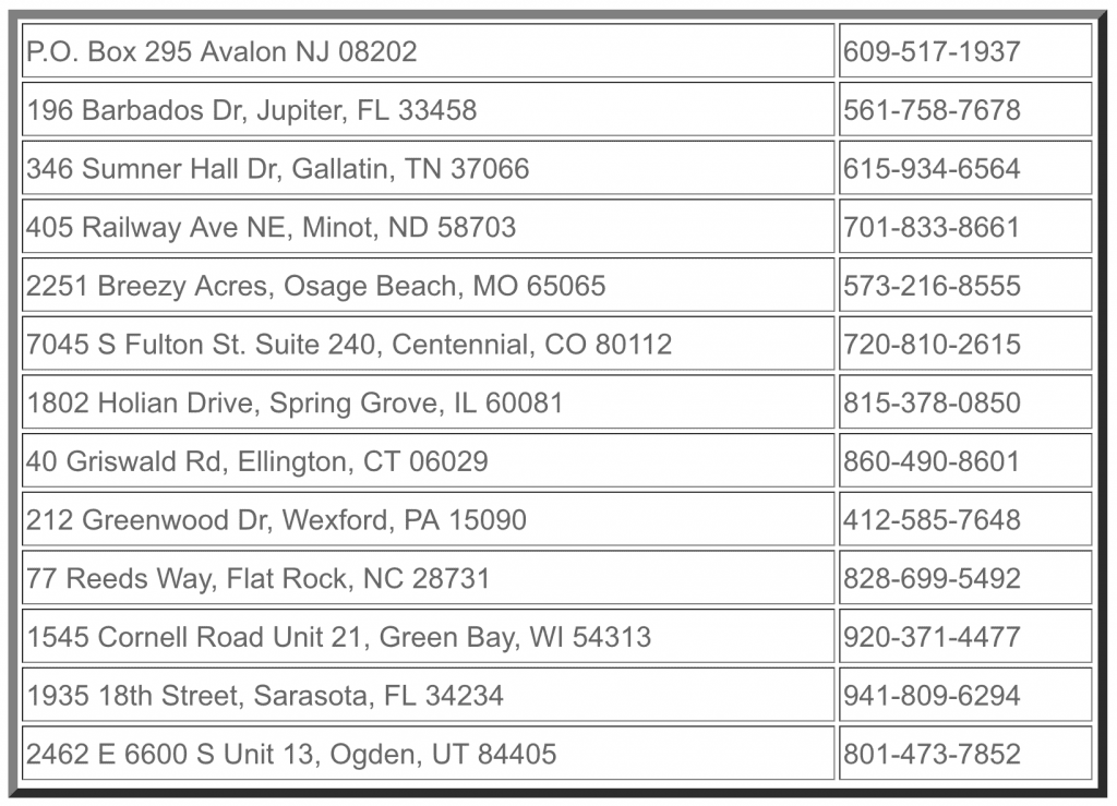 Dealers List, Oct., 2020